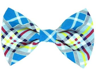 Blue Plaid Dog Bow Tie/ Classic Plaid Collar Bow Tie: Vintage Plaid