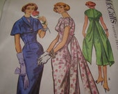 Vintage 1950's McCall's 3952 Dress and Cape Sewing Pattern, Size 10, Bust 31