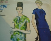 Vintage 1960's Vogue 6914 Two-Piece Dress Sewing Pattern, Size 14, Bust 34