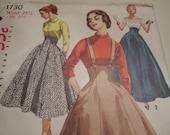 Vintage 1950's Simplicity 1730 Skirt Sewing Pattern, Waist 24 1/2
