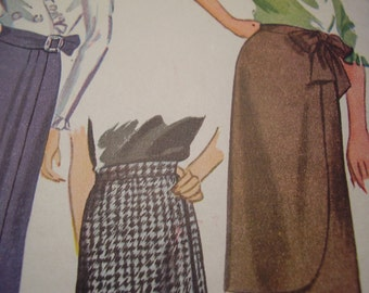 Vintage 1940's Simplicity 1153 Skirt Sewing Pattern, Waist 24