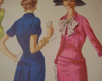 Vintage 1950's McCall's 3353 Dress Sewing Pattern, Size 14 Bust 32