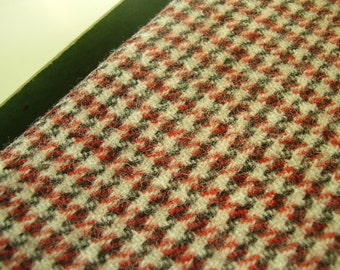 Vintage 1960's, 70's Wool Red Black Houndstooth style pattern, 2 yards