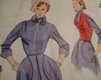 Vintage 1950's Simplicity 3108 Dress with Weskit, Detachable Vestee and Cuffs Sewing Pattern, Size 12, Bust 30