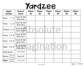 PRINTABLE. LARGE PRINT. Yardzee Score Card. Lawn Yahtzee Score Card. Digital Download