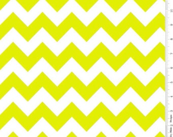 Sale! Neon Green and White Medium Chevron by Riley Blake
