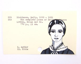 Emily Dickinson Library Card Art - Print of my painting of Dickinson on library card