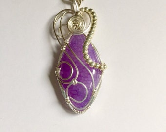 Wire Wrapped, Jewelry, Handmade, Wire Wrap, Pendant, Dragon Vein Agate, Stone, Marquise Shape Cabochon, Accessories