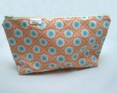 Makeup Cosmetic Bag, Peach Flower Print w/Zipper