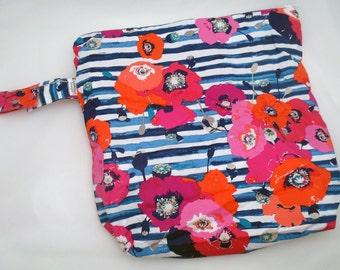 Wet /Dry Bag with Snap Handle - Waterproof Zipper Bag in Modern Flowers, Geometric, Skopelos