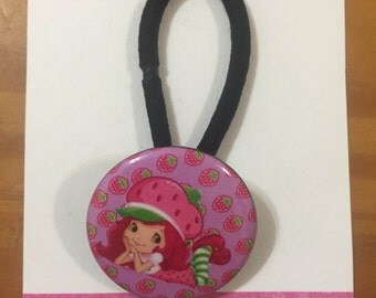 Strawberry Shortcake Inspired Ponytail Holder.  Custom Requests Welcome. Check Announcements for Discount Codes.