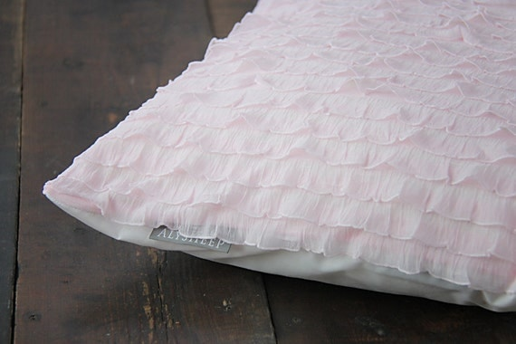 Light Pink Ruffle Throw Pillow : Pink Throw Pillow Cover // Light Pink Ruffle Pillow