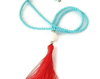 Red Tassel Necklace. Long Beaded Necklace-turquoise necklace. Aqua and Red Tassel Necklace