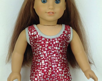 Gymastics Leotard ~ for American Girl Dolls ~ Red and Silver Foil