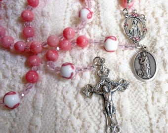 Breast Cancer Awareness St. Agatha Pink Cherry Quartz Rosary