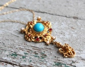 Vintage Florenza Victorian Style Necklace // Turquoise Ruby Pearl Necklace // Florenza Jewelry // Art Nouveau