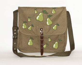 Vintage Upcycled Military Bag with Hand Painted Pears, Green Cotton Canvas Messenger Bag, Nature Inspired Accessories