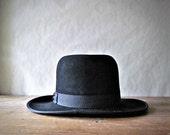 Amish Mennonite Black Hat, Fedora, Open Road Hat, Men Women Amish Fashion Trend, Goth Punk