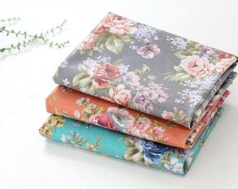 Laminated Cotton Fabric - Roses Laminated - Mint or Orange - By the Yard 87747