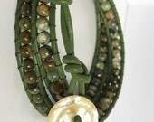 Rhyolite Triple Wrap Leather Bracelet