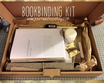 Bookbinding kit , DIY journal kit for a hardcover journal, bound with linen thread and man made leather- with instructions of binding