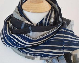 Vintage silk kimono Scarf 3 types of Blue Stripe fabric