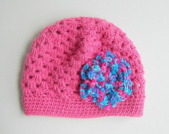 Baby Girl Pink Hat Newborn To 3 Months Old Infant Beanie  Cap  Children Winter Clothing  Fall Cloche With  Bright Multi Color Crochet Flower
