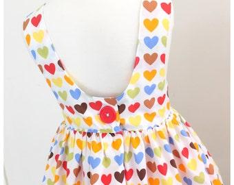 Girls Toddler Twirl Dress - Heart- Children Clothing - Dress- Infant Clothing - Spring Wear - Handmade in Australia