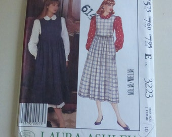 Vintage McCall's Pattern 3223  Laura Ashley Blouse and Jumper Misses Size 10 Factory Fold