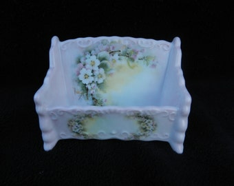 Business Card Holder: Hand decorated Porcelain