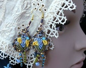 Handmade Bead and silk embroidered earrings shabby chic  blue with Swarovski crystal seed beaded jewelry OOAK
