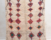 "AUTUMN DANCING in the BREEZE 7'1"" x 4'1"" Boucherouite Rug. Tapis Moroccan. Mid Century Modern Danish Design Compliment."