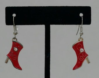 Red and Silver Cowboy Boot Earrings with Rhinestones on both sides/Western Wear/Bridesmaid Gift