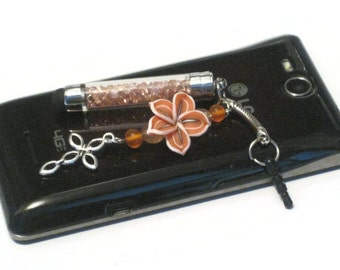 Orange (Peach) Crystal Mini Stylus Charm, Floral Clay Beaded Cell Phone Charm, Stylus Beaded Charm, Cell Phone Dust Plug, Tablet Stylus