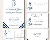 Wedding Invitation template - editable printable nautical wedding suite  -  Instant Download - WORD or PAGE editable text -