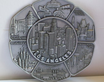 Los Angeles Embossed Metal Wall Hanging - Souvenir - Collectibles - Wall Decor - Home Decor - California - Disneyland -Beverly Hills