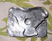 Vintage Primitve, flat back cookie cutter, chicken, black strap handle, a wonderful piece of American