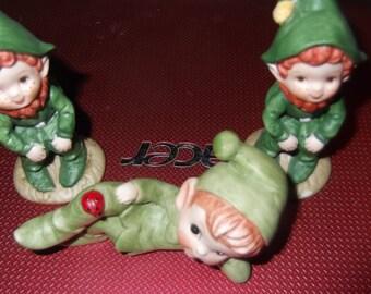Vintage Lefton Christmas elves,number 2138 3 elves in all vintage, cute, unique