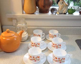 Acropal Floral Milk Glass Cups and Saucers  (7)