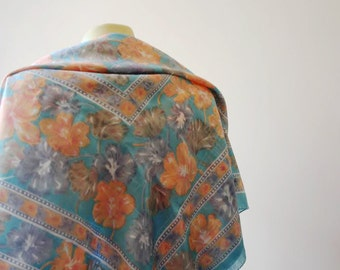 Peter Hahn Scarf/Chiffon Silk Scarf/Floral Scarf/Large Scarf/Peter Hahn/Vintage Scarf/Bright Scarf/Delicate Scarf/Late 1990s Style