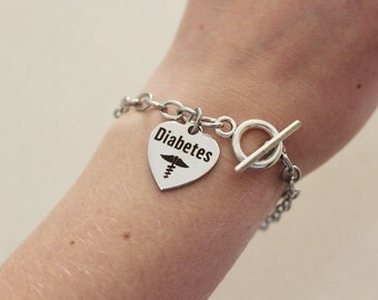 Diabetic bracelet, silver medical alert bracelet for diabetes, stainless steel, medical alert jewelry, diabetes charm