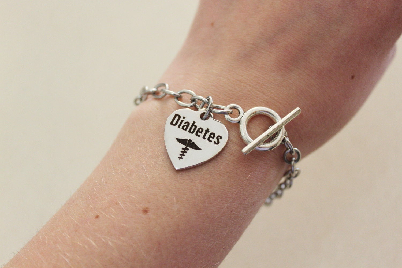 Medical Alert Bracelet >> Diabetic bracelet silver medical alert bracelet for diabetes