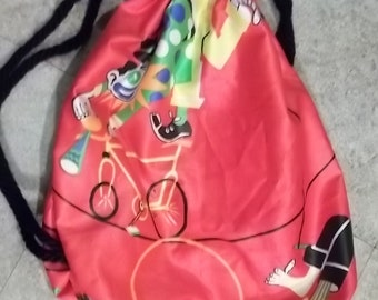 Circus Clown Backpack Children's Kid's Toddler's Cinchsac Red Vintage