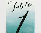 Wedding Table Numbers - Teal Blue Ombre – Romantic Timeless Calligraphy Wedding Table Numbers (Evelyn Suite)