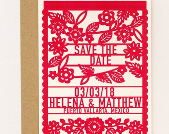 Destination Wedding Save the Date – Colorful Mexican Fiesta Papel Picado Save the Date (Helena Suite)