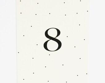 Wedding Table Number - Black and White Polka Dot, Modern and Chic Wedding Table Number (Lauren Suite)