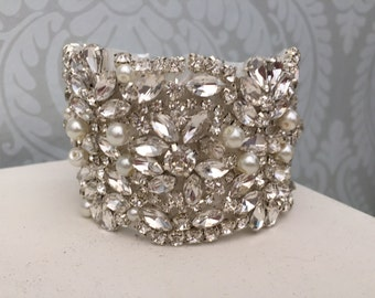 Bridal bracelet - wedding Bracelet  - Rhinestone Bracelet - Gatsby Bracelet  - Art Deco - silver bracelet - bridal accessories - bridal