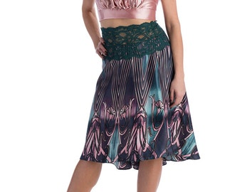 Satin tango skirt, lace skirt, tango wear, dance clothing, fit-and-flare silhouette, figure flattering skirts