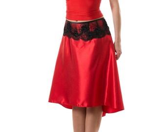 Tango red skirt, tango slit skirt, argentine tango skirts, tango clothing, dance apparel, dance fashion, hand-creafted