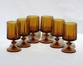 Vintage Lot of 6 Thick Rich Amber Colored Pedestal Glasses